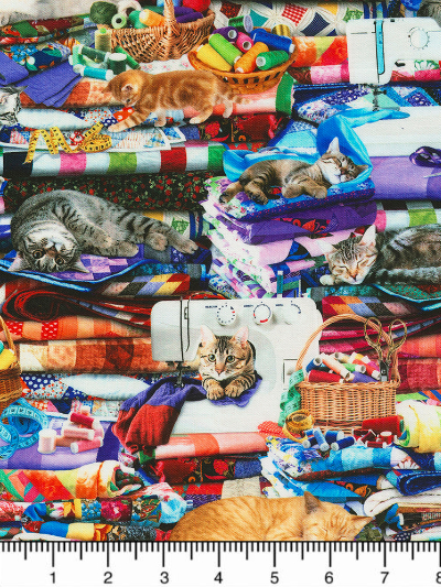 "Timeless Treasures ""Cats & Dogs"" # Cat-CD6878-Multi - Cats on Quilts MAIN"
