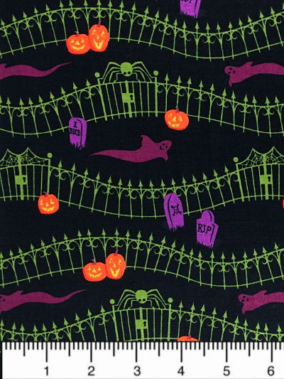 "Clothworks ""Haunted Hill"" # Y1753-3-BLACK - Ghosts in the Cemetery MAIN"