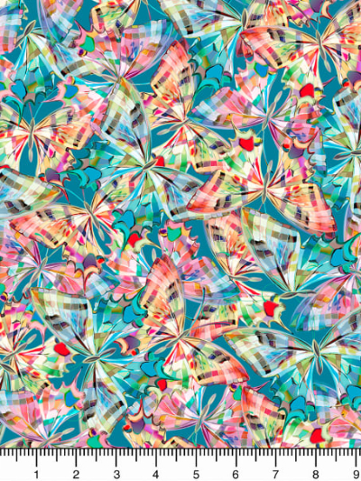 "QT Fabrics ""Daisy Meadow"" # 1649-27804-Q-Dark Aqua - Colorful Butterflies on Aqua MAIN"