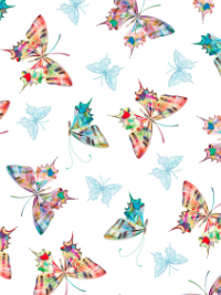 "QT Fabrics ""Daisy Meadow"" # 1649-27802-Z-White - Colorful Butterflies on White THUMBNAIL"