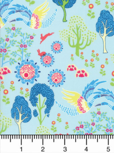 "Moda ""Manderley"" # 47502-14 - Multi-colored Birds and Trees on Light Blue MAIN"