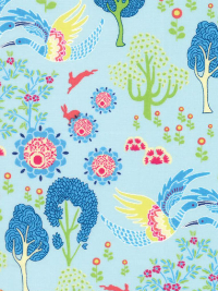 "Moda ""Manderley"" # 47502-14 - Multi-colored Birds and Trees on Light Blue THUMBNAIL"