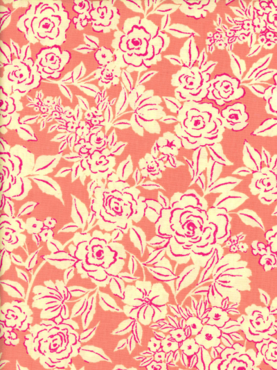 "Ink & Arrow Fabrics ""Zola"" # 26143-C – Coral Etched Floral MAIN"