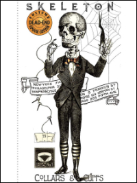 "Riley Blake ""Costume Maker's Ball"" # P-8360 col. White - Skeleton Collars & Cuffs Panel THUMBNAIL"