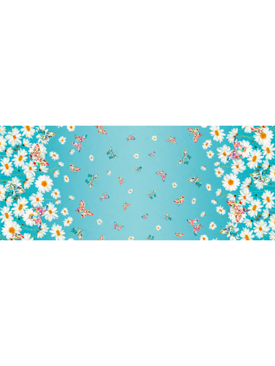 "QT Fabrics ""Daisy Meadow"" # 1649-27801-Q-Aqua - Butterflies and Daisies on Aqua Border MAIN"
