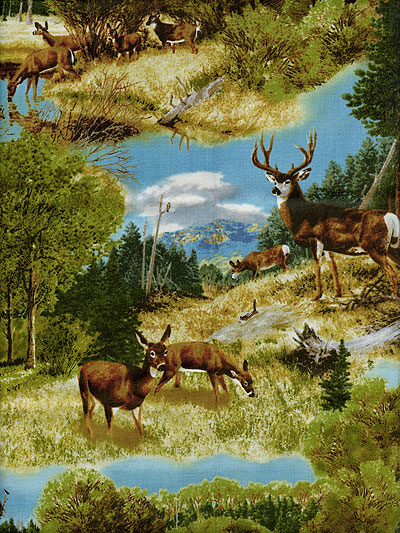 "Quilting Treasures ""Whitetail Ridge"" #1649-24086-G - Deer in the Woods MAIN"