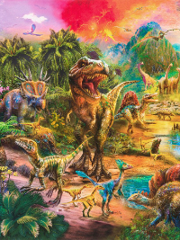 "Robert Kaufman ""Picture This"" # AYKD-18263-286-WILD - Dinosaur Panel THUMBNAIL"