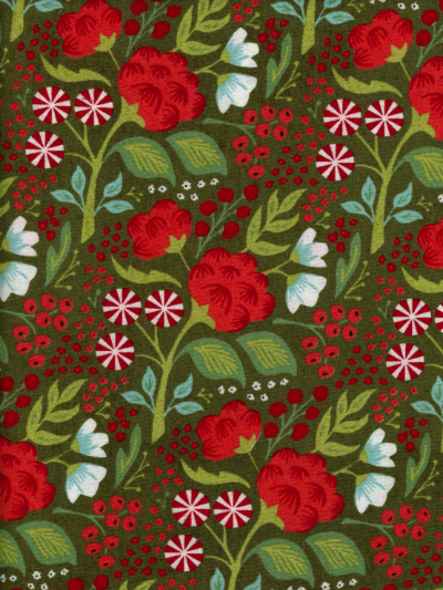"Moda ""Juniper Berry - Basic Grey"" #30432-14 - Red and Blue Flowers on Green MAIN"