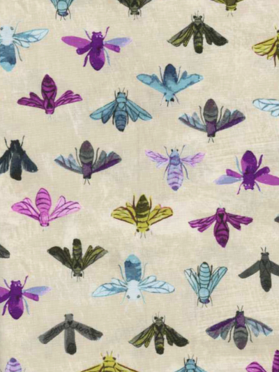 "Windham Fabrics ""Dreamer"" # 42568 col. 3 — Colorful Bees MAIN"