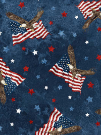 "Northcott ""Stars and Stripes VIII"" # 23460-49 col. Navy Multi — Bald Eagles, Flags and Stars THUMBNAIL"