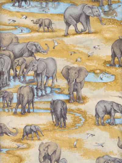 "Makower UK ""Safari"" #TP-1533-1 - Elephants MAIN"