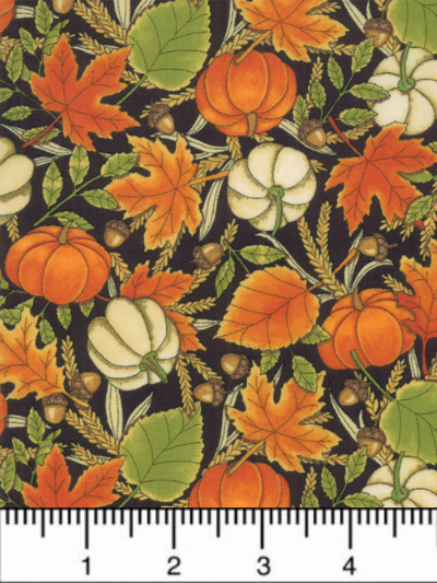 "Moda ""Thankful""  by Deb Strain #19901-14 col. Charcoal Black - Pumpkins and Fall Foliage MAIN"