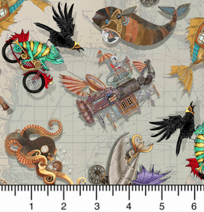 "QT Fabrics ""Fantasy & Fiction"" # 1649-27551-K - All Over Steampunk MAIN"