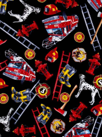 "Timeless Treasures ""Fire & Rescue"" # C1636-Black — Firefighter Gear and Dalmations THUMBNAIL"