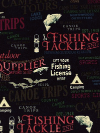 "Windham Fabrics ""Outdoor Life"" #35478-2 - Fish ""Lingo"" on Black THUMBNAIL"