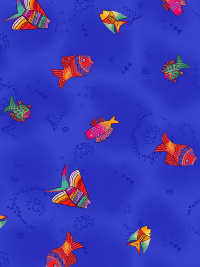 "Clothworks ""Sea Goddess"" # Y2601-91M ROYAL BLUE Metallic – Fish on Royal Blue THUMBNAIL"