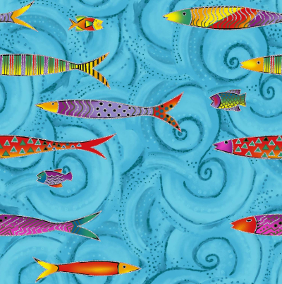 "Clothworks ""Sea Goddess"" # Y2600-98M SKY Metallic – Fish on Blue Swirls MAIN"