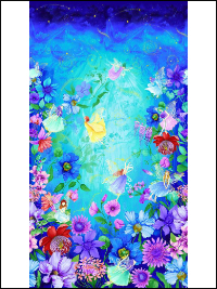 "Timeless Treasures ""Fantasy"" # CD7236-Aqua – Fairy Flower Panel - PRICED PER PANEL THUMBNAIL"