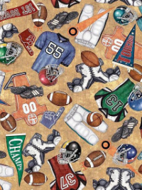 "Quilting Treasures ""Gridiron"" # 1649-26174-A — Football Gear THUMBNAIL"