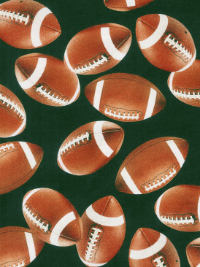"Robert Kaufman ""Sports Life 3"" # SRK-14615-7 col. Green — Footballs on Green THUMBNAIL"