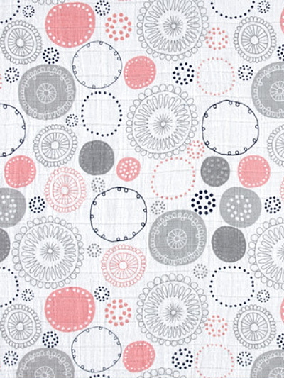 Shannon Fabrics Double Gauze Fabric # DR141599 color: Coral – Coral, Grey and Navy Circles on White MAIN