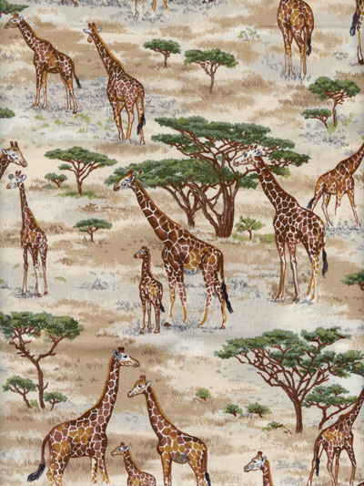"Makower UK ""Safari"" #TP-1534-1 - Giraffes MAIN"