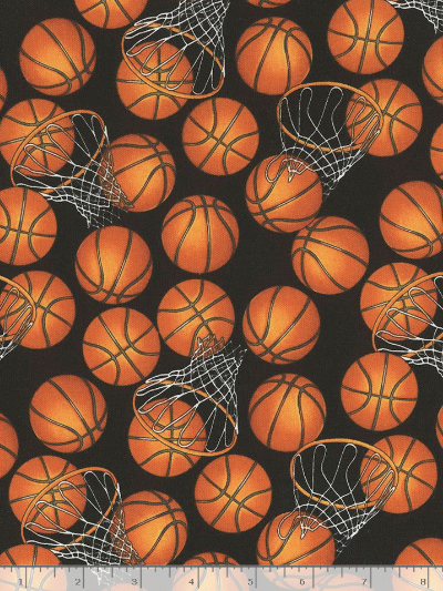 "Timeless Treasures ""Baseball and Basketball"" # GM-C5814-Black – Basketballs and Hoops MAIN"
