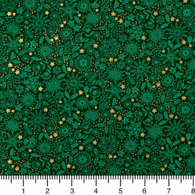 "Makower ""Silent Night"" # 1980-G - Snowflakes, Foliage and Stars on Green MAIN"