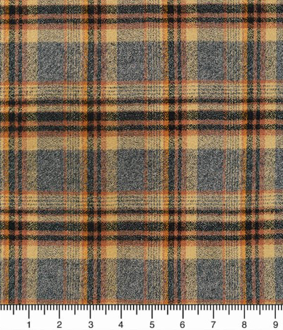 "Robert Kaufman ""Mammoth Flannel"" # SRKF-16429-124-Maize - Gray, Black and Tan Plaid Flannel MAIN"