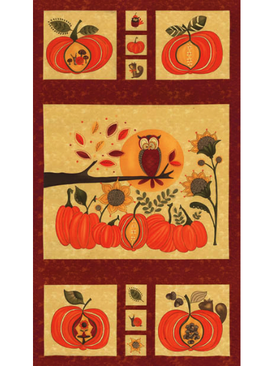 "Moda ""Hello Fall"" #17780-15 - Fall Panel with Pumpkins and Owls MAIN"