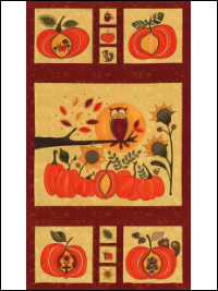 "Moda ""Hello Fall"" #17780-15 - Fall Panel with Pumpkins and Owls THUMBNAIL"