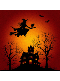 "Hoffman ""Supernova Seasons"" # P4374-232-Citrine – Witch Flying Over Haunted House Panel THUMBNAIL"
