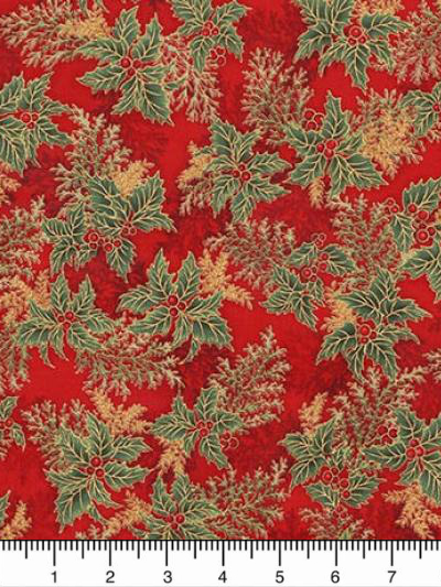 "Robert Kaufman ""Holiday Flourish 11"" # 17340-91-Crimson - Holly Foliage on Red MAIN"