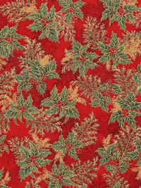 "Robert Kaufman ""Holiday Flourish 11"" # 17340-91-Crimson - Holly Foliage on Red THUMBNAIL"