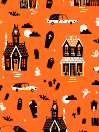"Robert Kaufman ""Eerie Alley 4"" # ACYD-18115-8 col. Orange - Haunted Houses and Hearses on Orange THUMBNAIL"