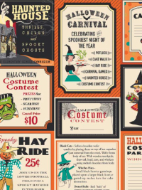 "Riley Blake ""Trick or Treat"" # C-5990 col. Orange - Halloween Labels THUMBNAIL"