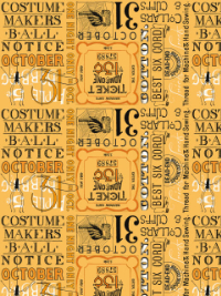 "Riley Blake ""Costume Maker's Ball"" # C-8368 col. Orange - Halloween Ticket Text THUMBNAIL"