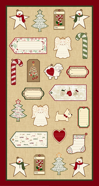 "Marcus Fabrics ""Wrapped In Joy Labels"" # R25-2888-0166 – Labels Panel - PRICED PER PANEL MAIN"