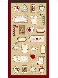 "Marcus Fabrics ""Wrapped In Joy Labels"" # R25-2888-0166 – Labels Panel - PRICED PER PANEL THUMBNAIL"