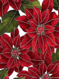 "Hoffman ""Poinsettia Song"" # Q7634-113S-Frost/Silver - Large Poinsettias with Metallic Silver Accents THUMBNAIL"