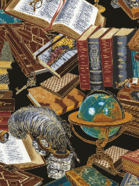 "Timeless Treasures ""Library"" # CM6891-Black - Library Books and Items THUMBNAIL"