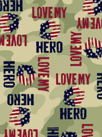 "QT Fabrics ""Love My Hero"" # 1649-24784-G - Camouflage with Red and Blue ""Love My Hero"" THUMBNAIL"