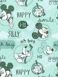"Camelot Fabrics ""Mickey Mouse – Friends"" # 85270302 – Mickey Mouse Friends on Light Turquoise THUMBNAIL"