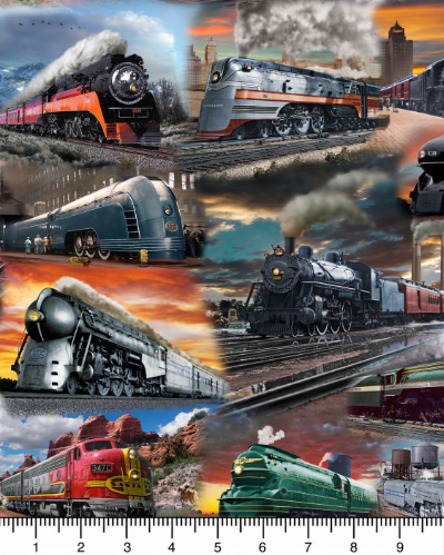 "QT Fabrics ""Artworks IX"" # 1649-26750-X – Trains MAIN"