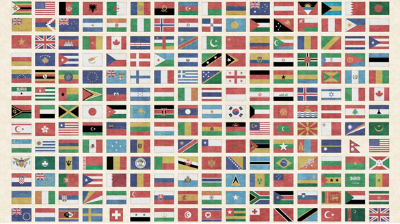 "QT Fabrics ""Wanderlust"" # 1649-26727-X MULTI – Flags of the World Panel MAIN"