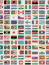 "QT Fabrics ""Wanderlust"" # 1649-26727-X MULTI – Flags of the World Panel THUMBNAIL"