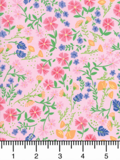 "Moda ""Sunday Picnic"" # 20672-13 - Pink, Purple and Orange Flowers on Pink MAIN"