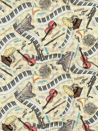 Timeless Treasures Row C5937-Tan - All Over Music THUMBNAIL