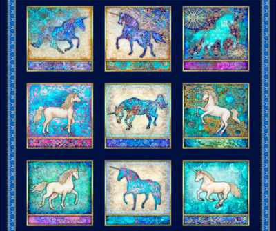 "QT Fabrics ""Mystical"" # 1649-27376-N col. Navy - Mystical Unicorn Picture Patches Panel MAIN"