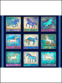 "QT Fabrics ""Mystical"" # 1649-27376-N col. Navy - Mystical Unicorn Picture Patches Panel THUMBNAIL"